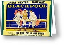 Blackpool, England - Retro Travel Advertising Poster - Three Fashionable Women - Vintage Poster -  Greeting Card