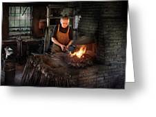 Blacksmith - Blacksmiths Like It Hot Greeting Card by Mike Savad