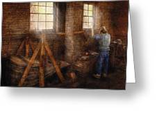 Blacksmith - It's Getting Hot In Here Greeting Card by Mike Savad