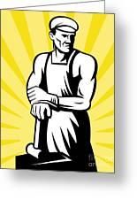 Blacksmith Posing Greeting Card by Aloysius Patrimonio