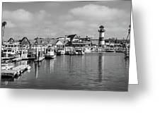 Black And White Oceanside California Marina  Greeting Card
