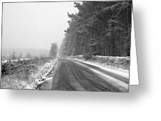 Blanchland Road In Winter, Slaley Woods Greeting Card
