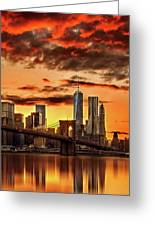 Blazing Manhattan Skyline Greeting Card
