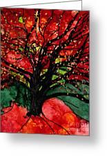 Blazing Red Orange Autumn Tree Greeting Card