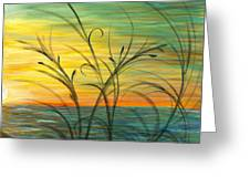 Blazing Sunrise And Grasses In Blue Greeting Card