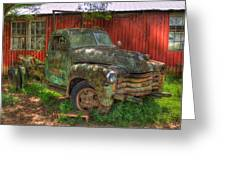 Blind In One Eye 1947 Chevy Flatbed Truck Art Greeting Card