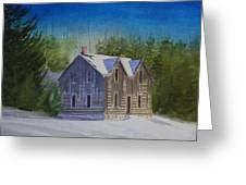 Blind River Homestead In Winter Greeting Card