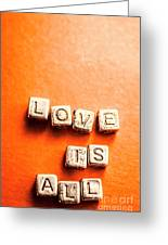 Block Quotes On Love Is All  Greeting Card
