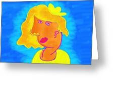 Blond Girl In A Yellow Hat Cubism Style Greeting Card