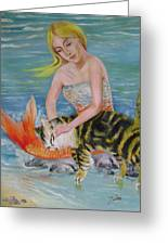Blond Mermaid And Cat Greeting Card