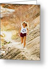 Blond Woman Trail Runner Greeting Card