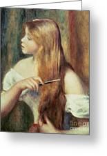 Blonde Girl Combing Her Hair Greeting Card by Pierre Auguste Renoir