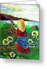 Blonde Indian Weaves Her Basket By A Lake Greeting Card