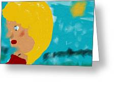 Blonde Looking For Thought Greeting Card