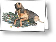 Blood Hound Christmas Greeting Card