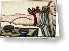 Bloodletting, Illustration, 1675 Greeting Card