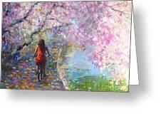Blossom Alley Impressionistic Painting Greeting Card by Svetlana Novikova