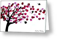 Blowing Blossoms Greeting Card