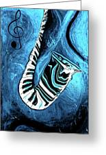 Piano Keys In A Saxophone Blue 2 - Music In Motion Greeting Card
