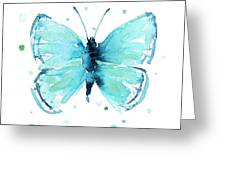 Blue Abstract Butterfly Greeting Card