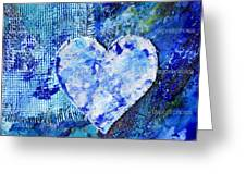 Blue Abstract Painting With Heart Greeting Card