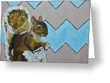 Blue And Beige Chevron Squirrel Greeting Card