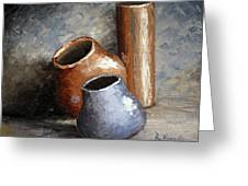 Blue And Brown Pots Greeting Card
