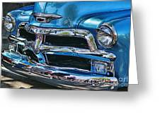 Blue And Chrome Chevy Pickup Front End Greeting Card