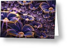 Blue And Gold Fractal Flowers Greeting Card