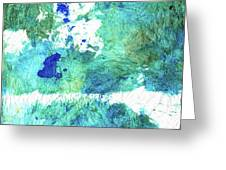 Blue And Green Abstract - Imagine - Sharon Cummings Greeting Card