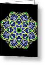 Blue And Green Flower Mandala Greeting Card