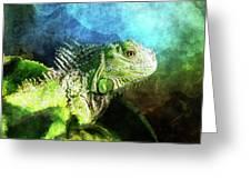 Blue And Green Iguana Profile Greeting Card
