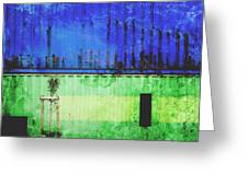 Blue And Green Metallic Shed Greeting Card