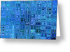 Blue And Green Quilt Greeting Card