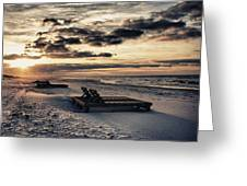 Blue And Orange Sunrise On The Beach Greeting Card