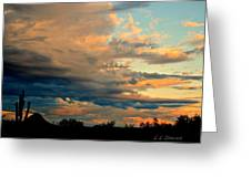 Blue And Orange Sunset Greeting Card