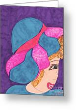 Blue And Pink Hat Greeting Card