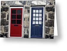 Blue And Red Doors Greeting Card