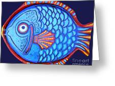 Blue And Red Fish Greeting Card