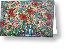 Blue And Red Flowers. Greeting Card