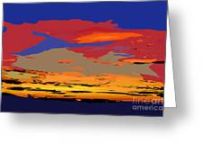 Blue And Red Ocean Sunset Greeting Card
