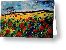 Blue And Red Poppies 45 Greeting Card