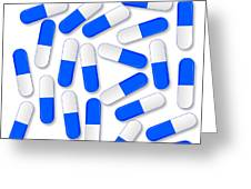 Blue And White Capsules Greeting Card