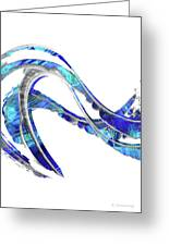 Blue And White Painting - Wave 2 - Sharon Cummings Greeting Card