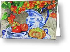 Blue And White Porcelain With Cherries Greeting Card