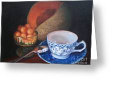 Blue And White Teacup And Melon Greeting Card