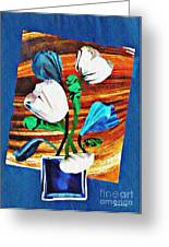 Blue And White Tulips Greeting Card
