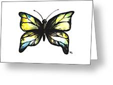 Blue And Yellow Watercolor Butterfly Greeting Card