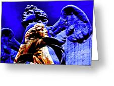 Blue Angel Wings Greeting Card