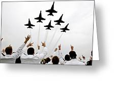 Blue Angels Fly Over The Usna Graduation Ceremony Greeting Card